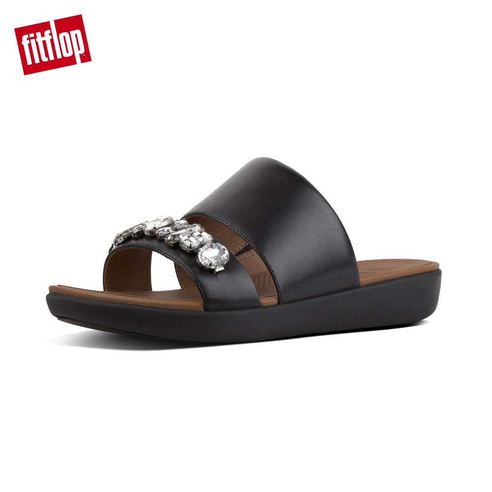 【FitFlop】DELTA BEJEWELLED LEATHER SLIDES 華麗寶石涼鞋-女 黑色
