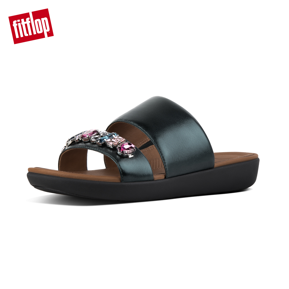 【FitFlop】DELTA BEJEWELLED LEATHER SLIDES 華麗寶石涼鞋-女 銀河綠