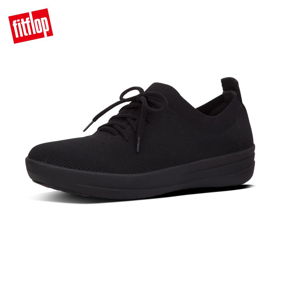 【FitFlop】F-SPORTY UBERKNIT SNEAKERS 運動風繫帶休閒鞋-女 靚黑色