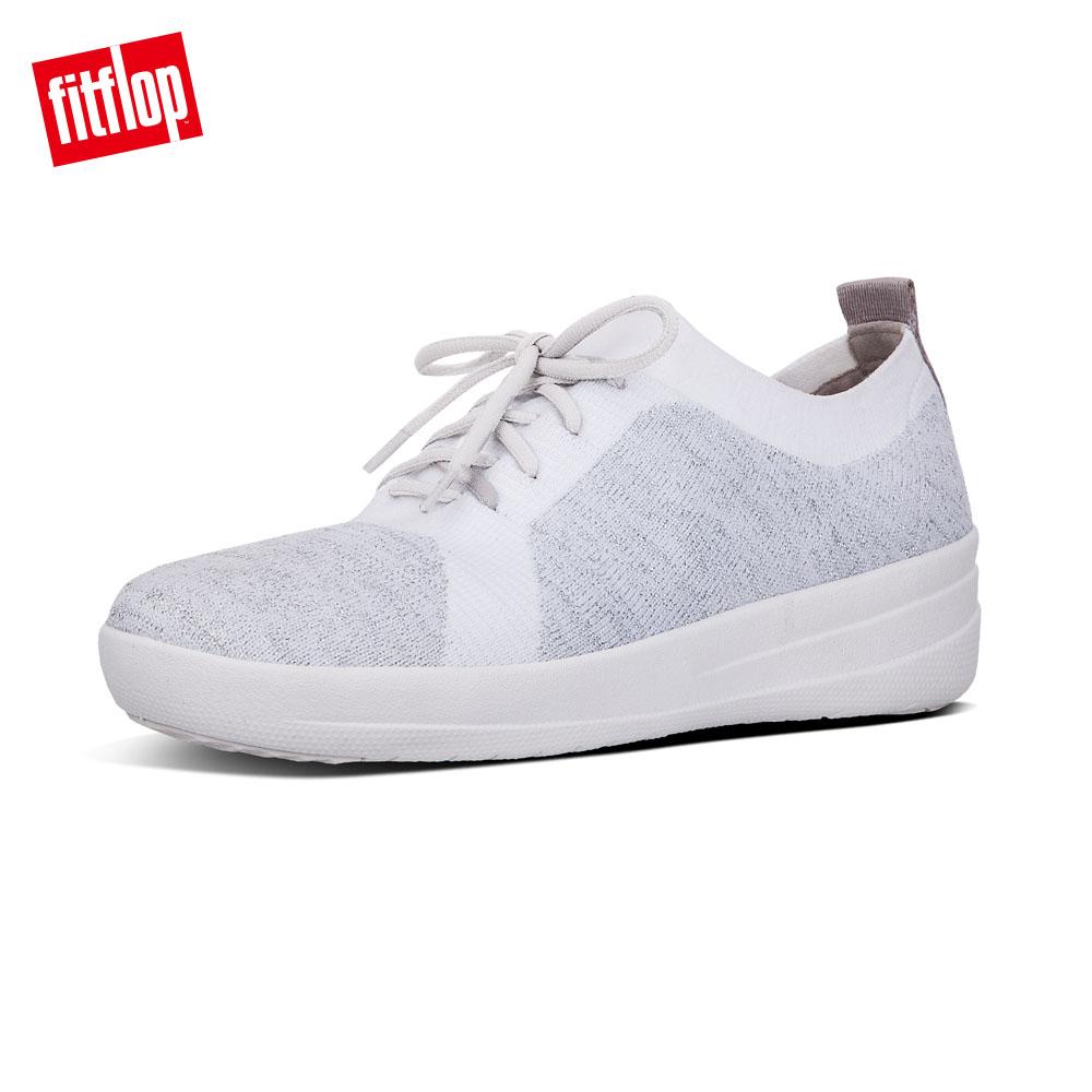 【FitFlop】F-SPORTY UBERKNIT SNEAKERS 運動風繫帶休閒鞋-女 金屬銀/都會白