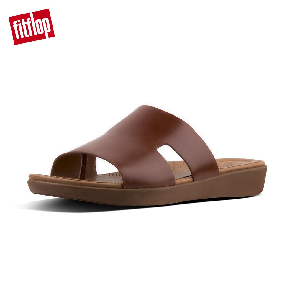 【FitFlop】H-BAR SLIDE SANDALS - LEATHER  H型設計款全皮革涼鞋-女 焦糖色