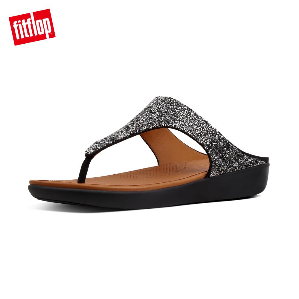 【FitFlop】BANDA II QUARTZ TOE-THONGS折射水鑽裝飾夾腳涼鞋-女 黑色