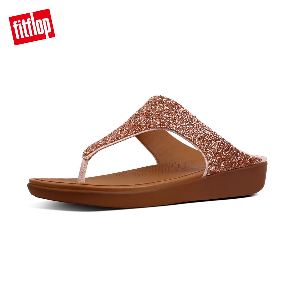 【FitFlop】BANDA II QUARTZ TOE-THONGS折射水鑽裝飾夾腳涼鞋-女 裸膚色