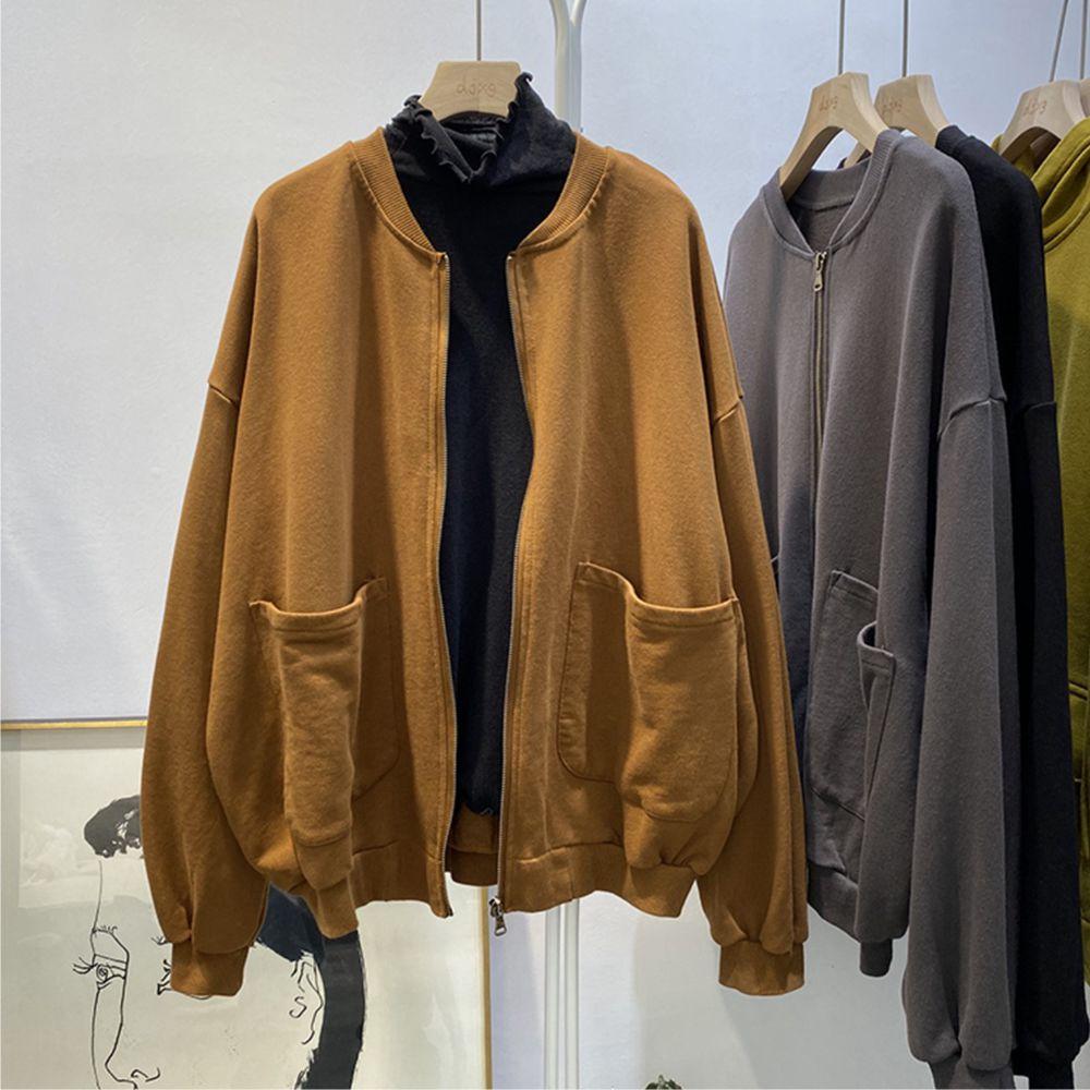 【韓系女衫】M~2XL簡約春秋薄料素領拉鏈外套-3色