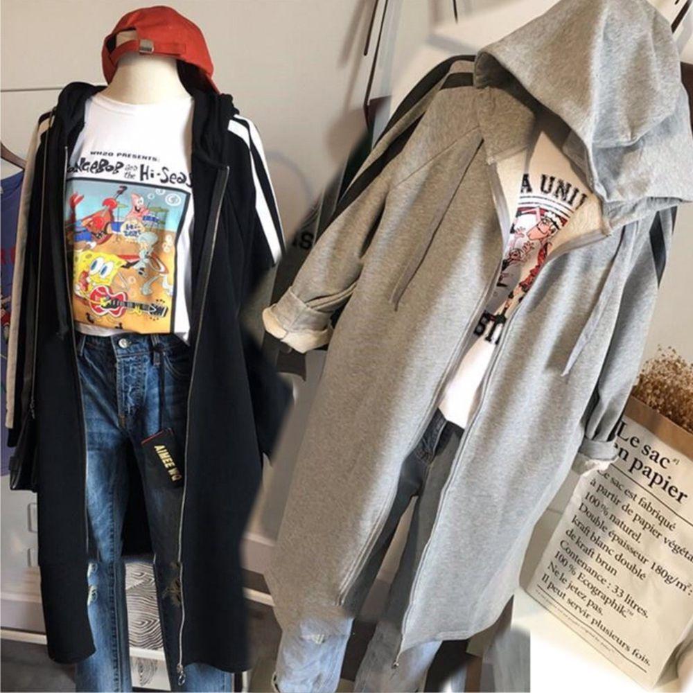 【韓系女衫】M~2XL美式春秋連帽運動風長版外套-2色