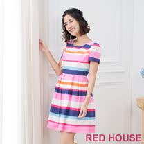 Red House 蕾赫斯-彩色條紋洋裝(桃色)