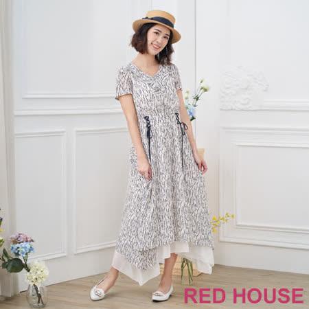 Red House 蕾赫斯  綁帶碎花長洋裝