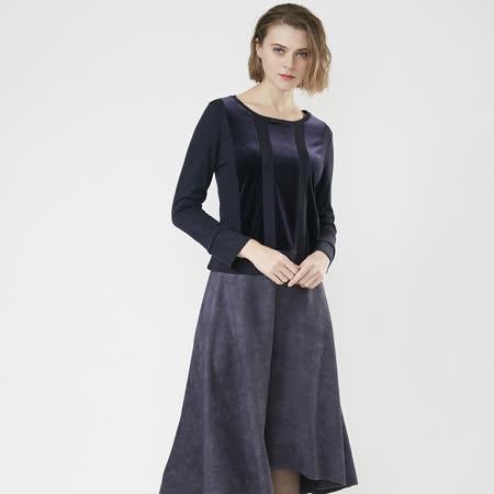 FrescOggi 氣質絨布異材質剪接上衣