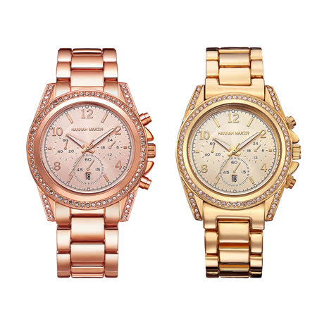 HANNAH MARTIN 華麗水鑽不鏽鋼腕錶