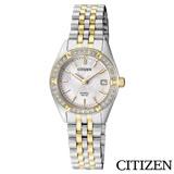 CITIZEN星辰 奢華璀璨白蝶貝雙色石英女錶-EU6064-54D