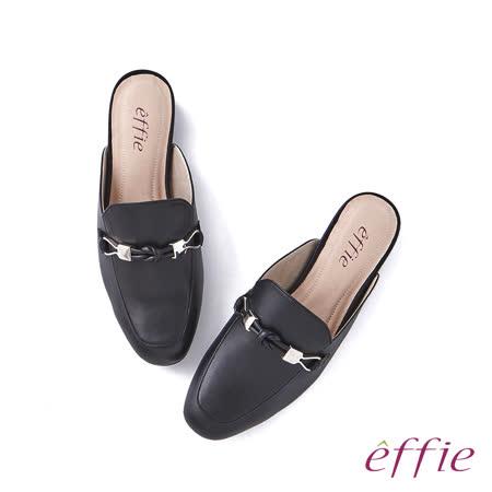 【新品】effie  扭結飾釦穆勒鞋-黑
