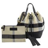 BURBERRY 40802451 格紋棉麻束口手提兩用水桶包.黑白【全新福利品】