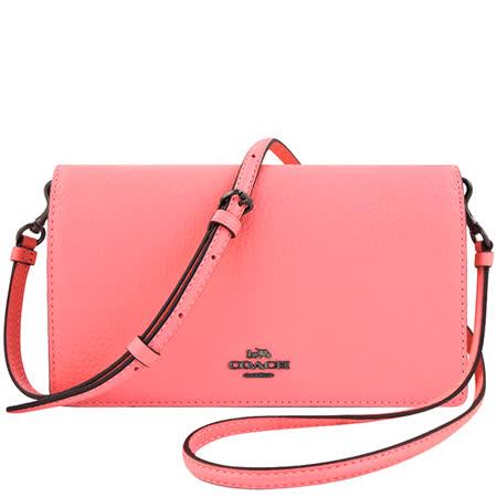 COACH 荔枝紋皮革斜背包-蜜桃粉色
