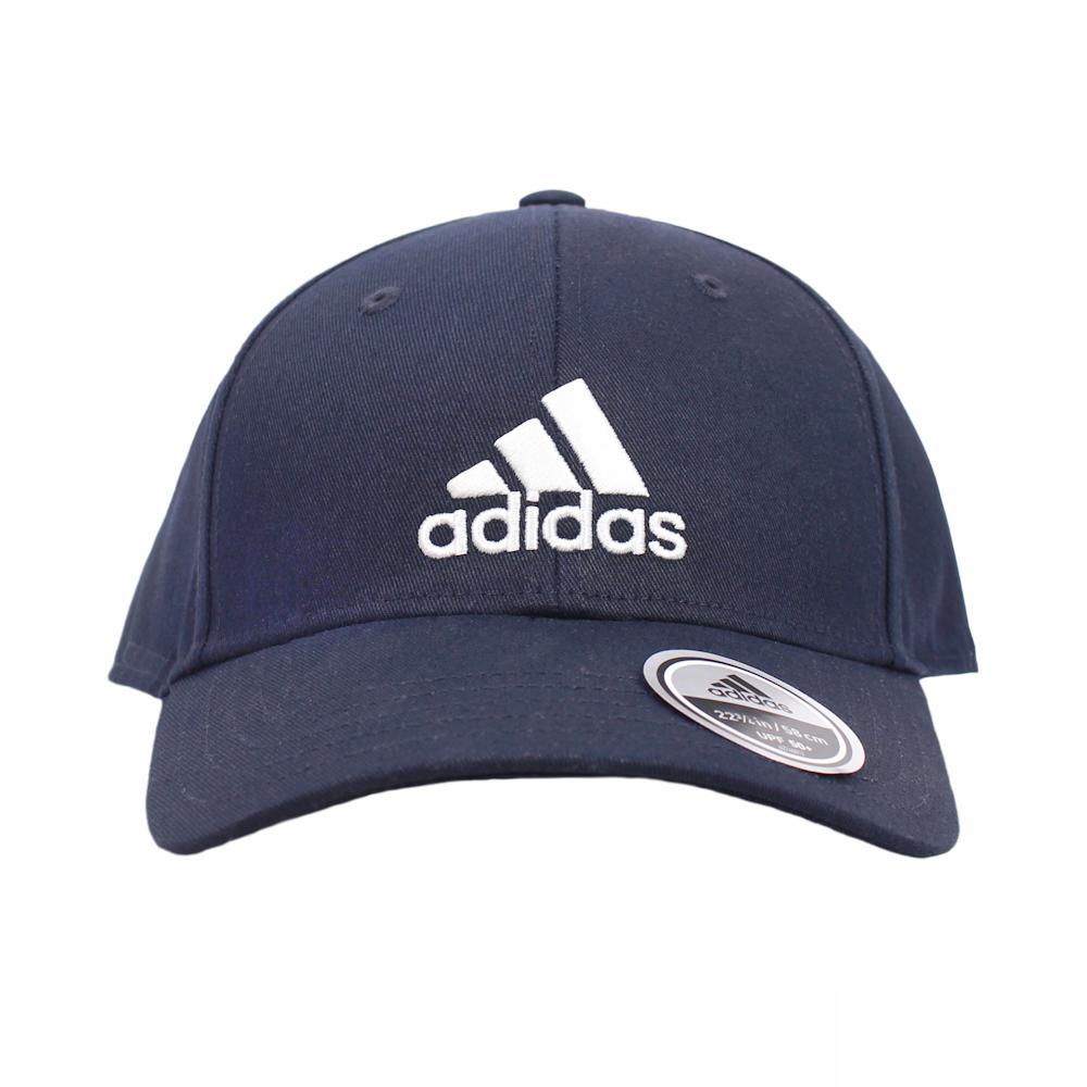 ADIDAS 帽 BBALL CAP COT 刺繡大LOGO運動帽 深藍 - FQ5270