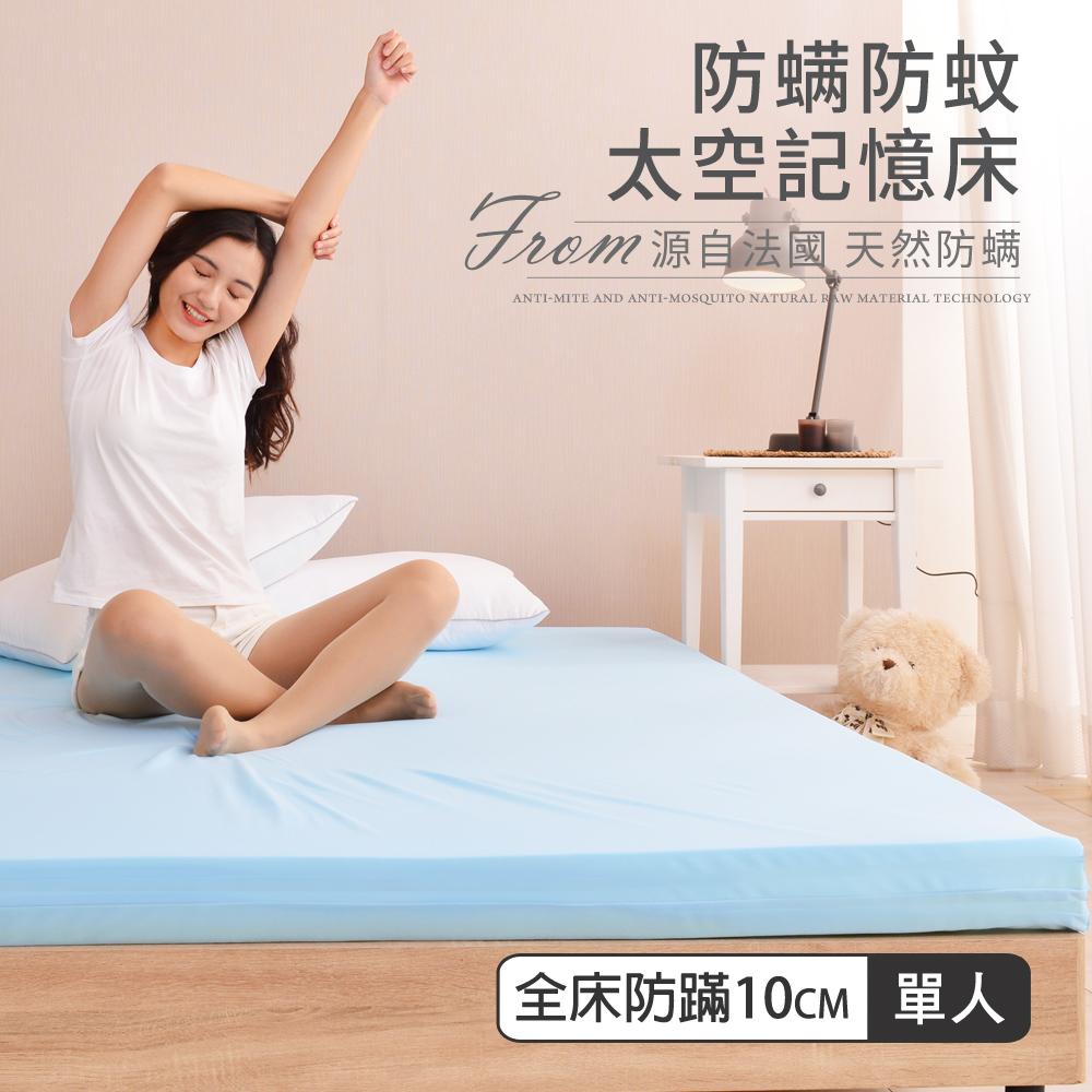 【贈枕套】LooCa防螨防蚊10cm太空記憶床墊-單人3尺(2色任選)