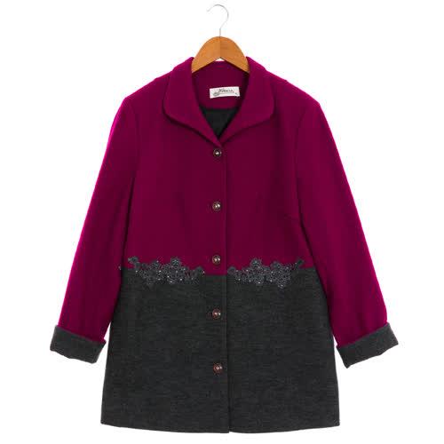 盈樺 時尚撞色拼接細緻蕾絲壓飾毛呢外套
