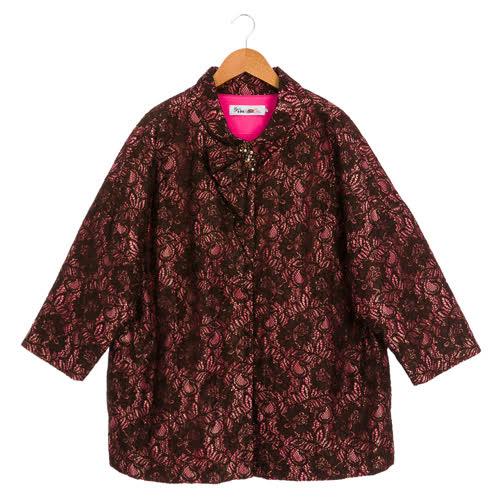 盈樺 優雅氣質蕾絲小立領鋪棉外套