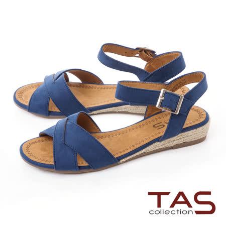 TAS 交叉草編底台涼鞋