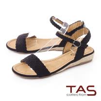 TAS一字編織造型草編底台涼鞋-百搭黑