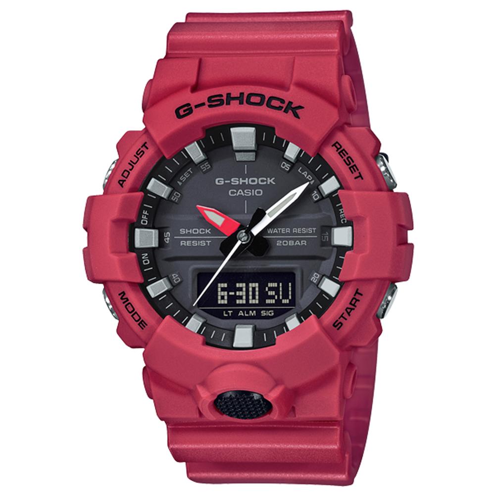 CASIO 卡西歐 G-SHOCK 絕對強悍輕薄3D雙顯運動錶 GA-800-4A(GA-800-4ADR)-48.6mm