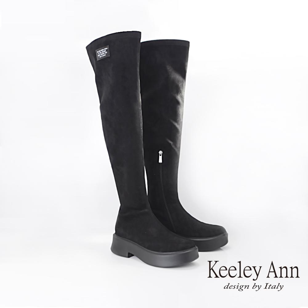 Keeley Ann簡約率性 內側拉鍊修飾及膝厚底長靴(黑色079617110-Ann系列)