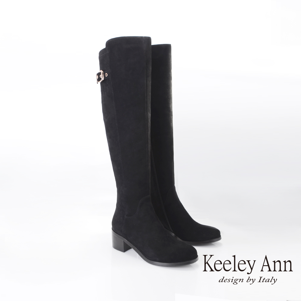 Keeley Ann質感設計 金屬釦飾羊皮及膝長靴(黑色079617210-Ann系列)