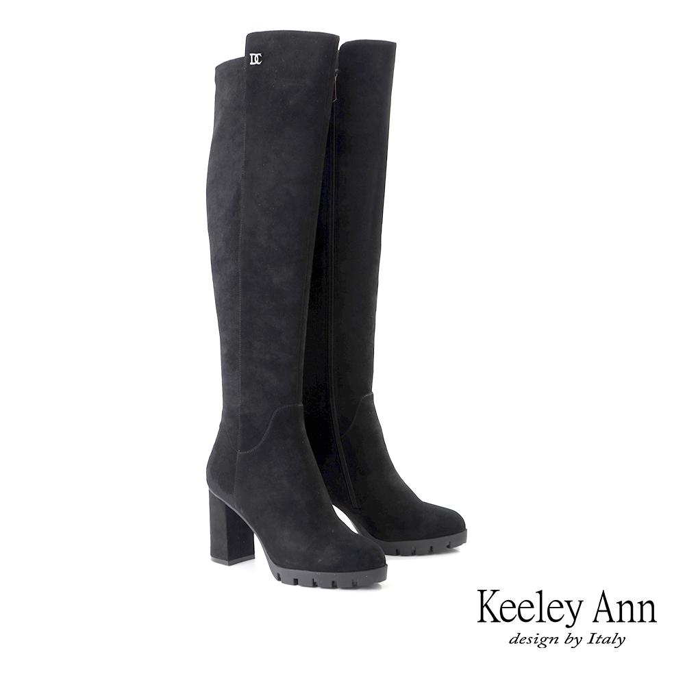 Keeley Ann率性經典 質感羊皮修飾比例及膝長靴(黑色079617510-Ann系列)