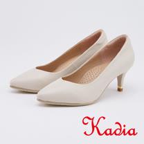 kadia.優雅氣質 羊皮尖頭高跟鞋(0526-01米色)