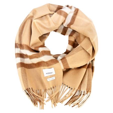 BURBERRY  經典格紋羊絨流蘇圍巾