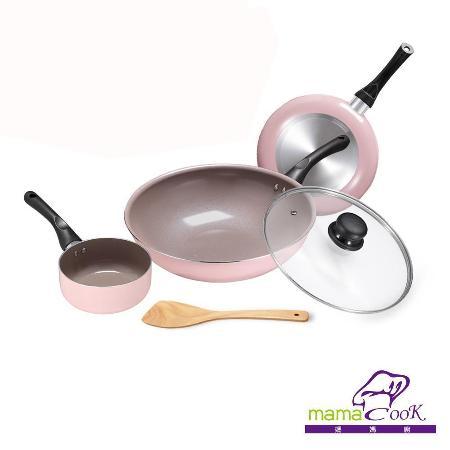 【義大利Mama Cook】綻粉陶瓷不沾鍋具3鍋5件組