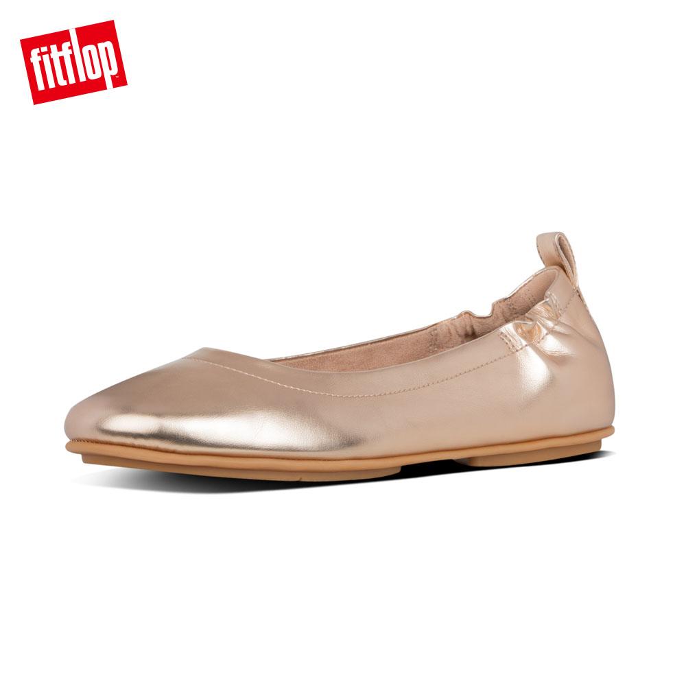 ~FitFlop~ALLEGRO LEATHER METALLIC BALLERINAS輕量芭蕾舞鞋~女 玫瑰金