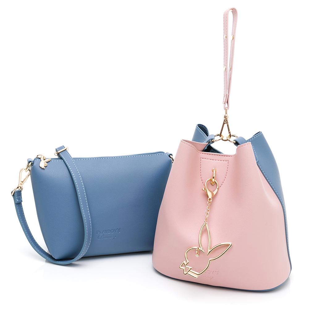 PLAYBOY-  手提包(可做斜背包使用)) 拼接子母包系列  -藍色