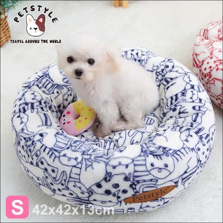 日系PetStyle 手繪風寵物圓床