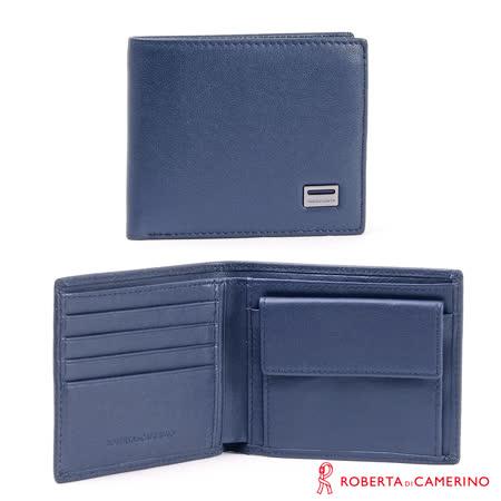 【ROBERTA 諾貝達】義大利牛皮-零錢袋短夾-藍色-平紋