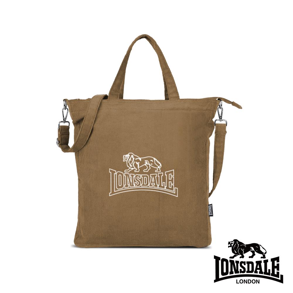 LONSDALE 英國小獅-燈芯絨斜背/手提袋-淺棕 LD1343