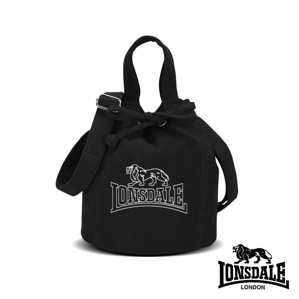 LONSDALE 英國小獅-燈芯絨束口水桶包-黑色 LD1344