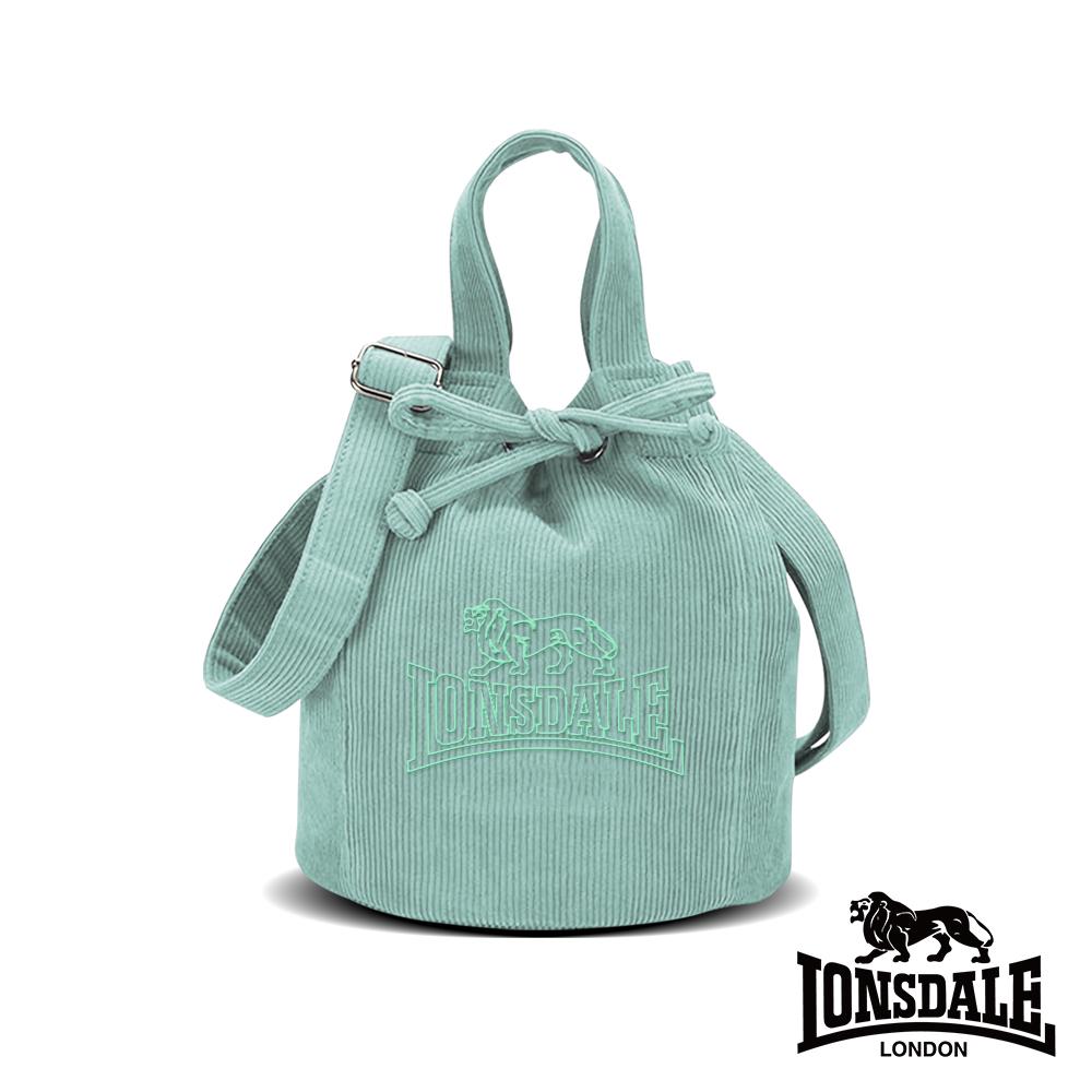 LONSDALE 英國小獅-燈芯絨束口水桶包-湖水藍 LD1344