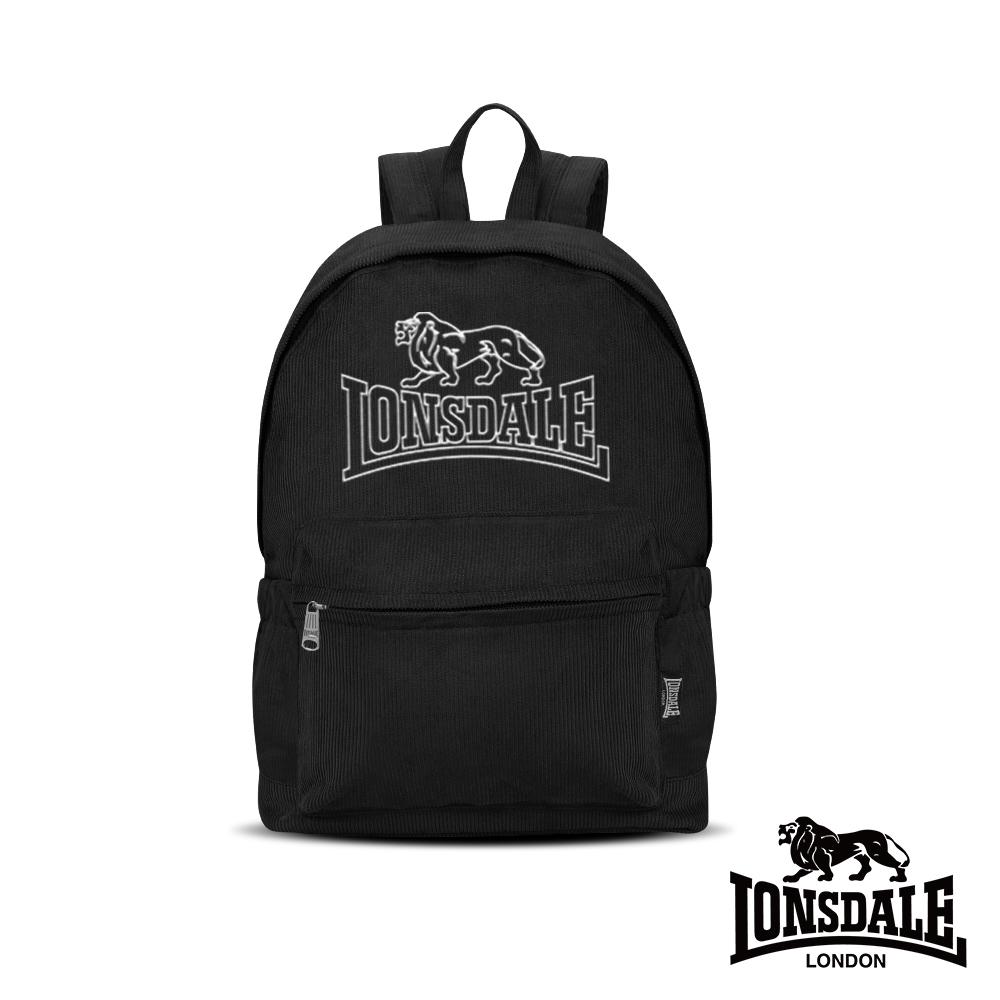 LONSDALE 英國小獅-燈芯絨後背包-黑色 LD1346