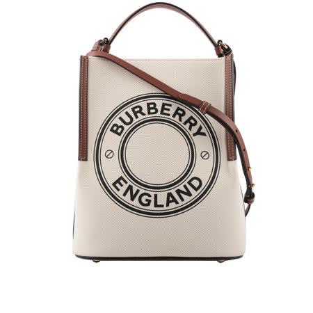 BURBERRY 徽標棉質帆布水桶包