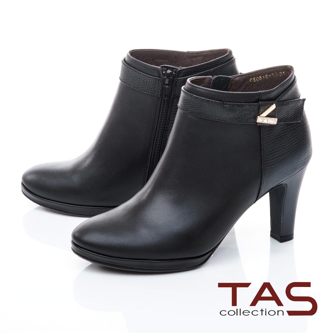 TAS牛皮拼接皮帶扣高跟踝靴-經典黑