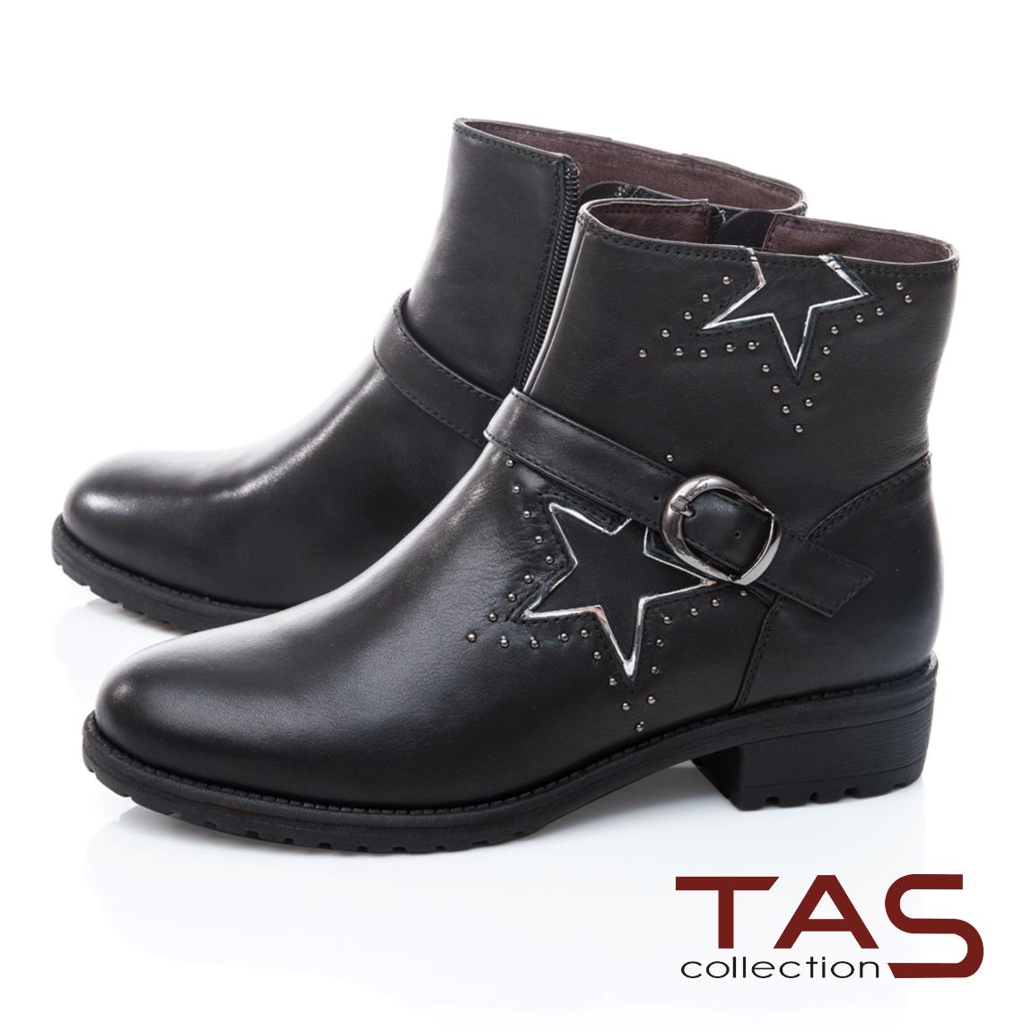 TAS造型金屬鉚釘拼接皮帶繞踝低跟短靴-街頭黑