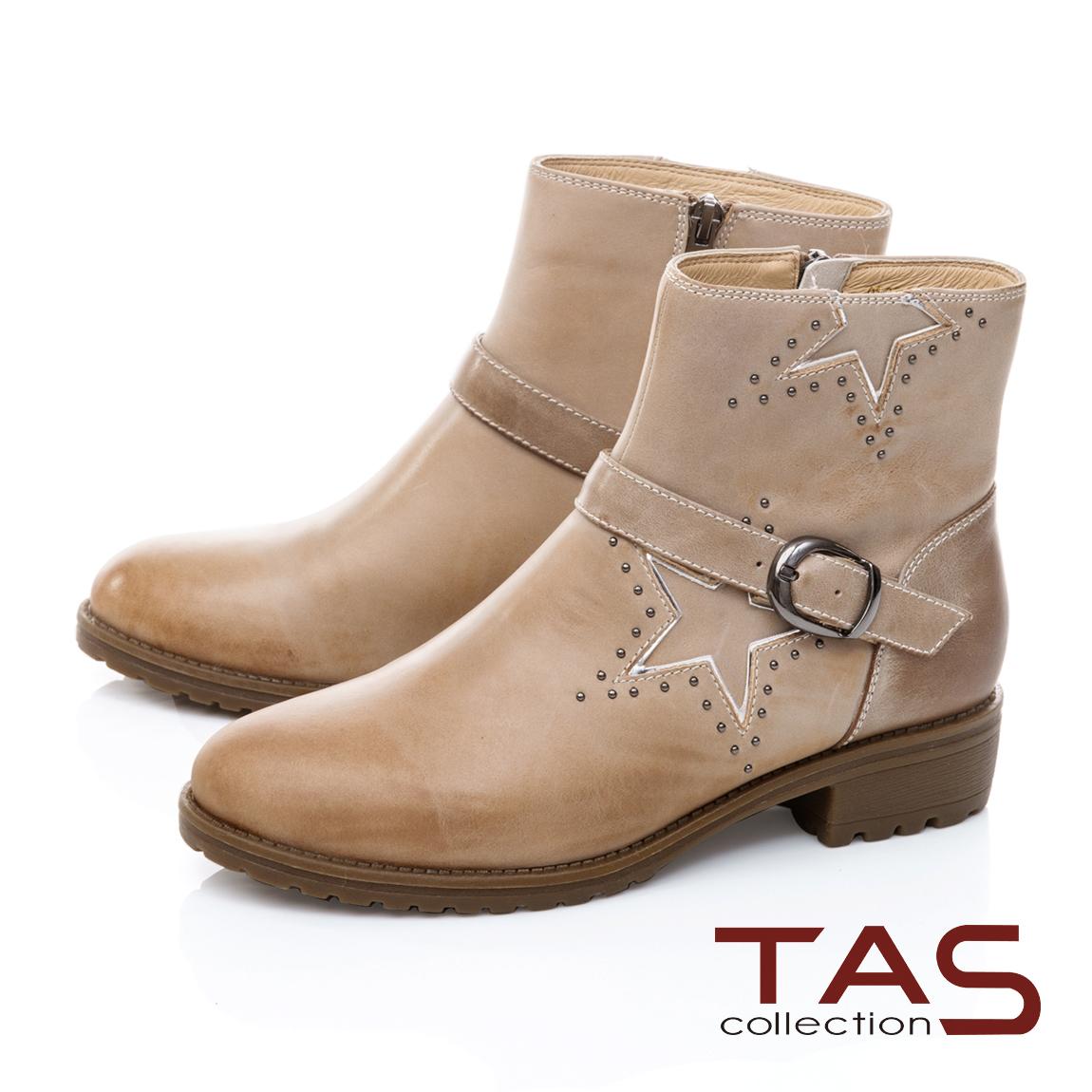 TAS造型金屬鉚釘拼接皮帶繞踝低跟短靴-質感米