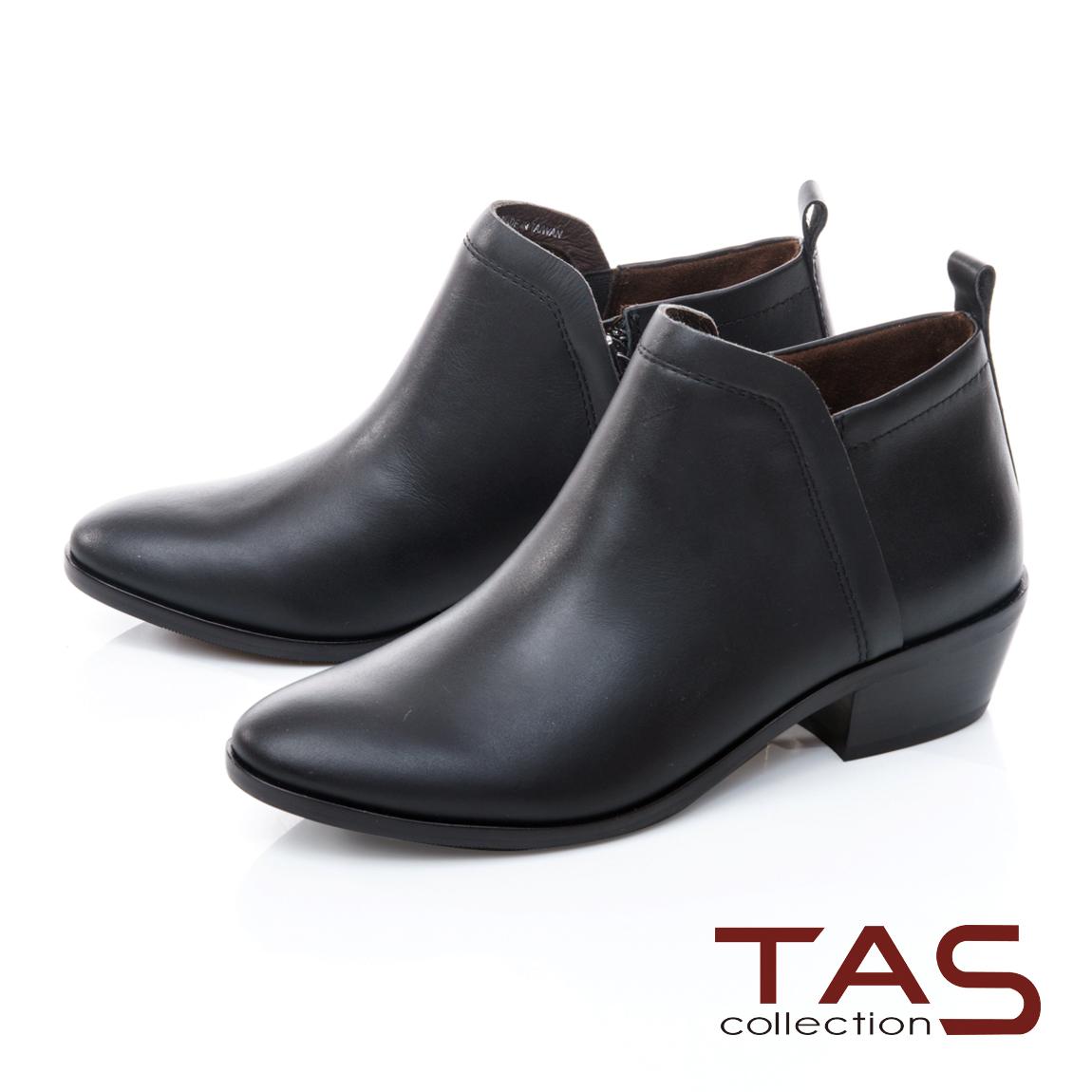 TAS素面牛皮粗跟短靴-百搭黑
