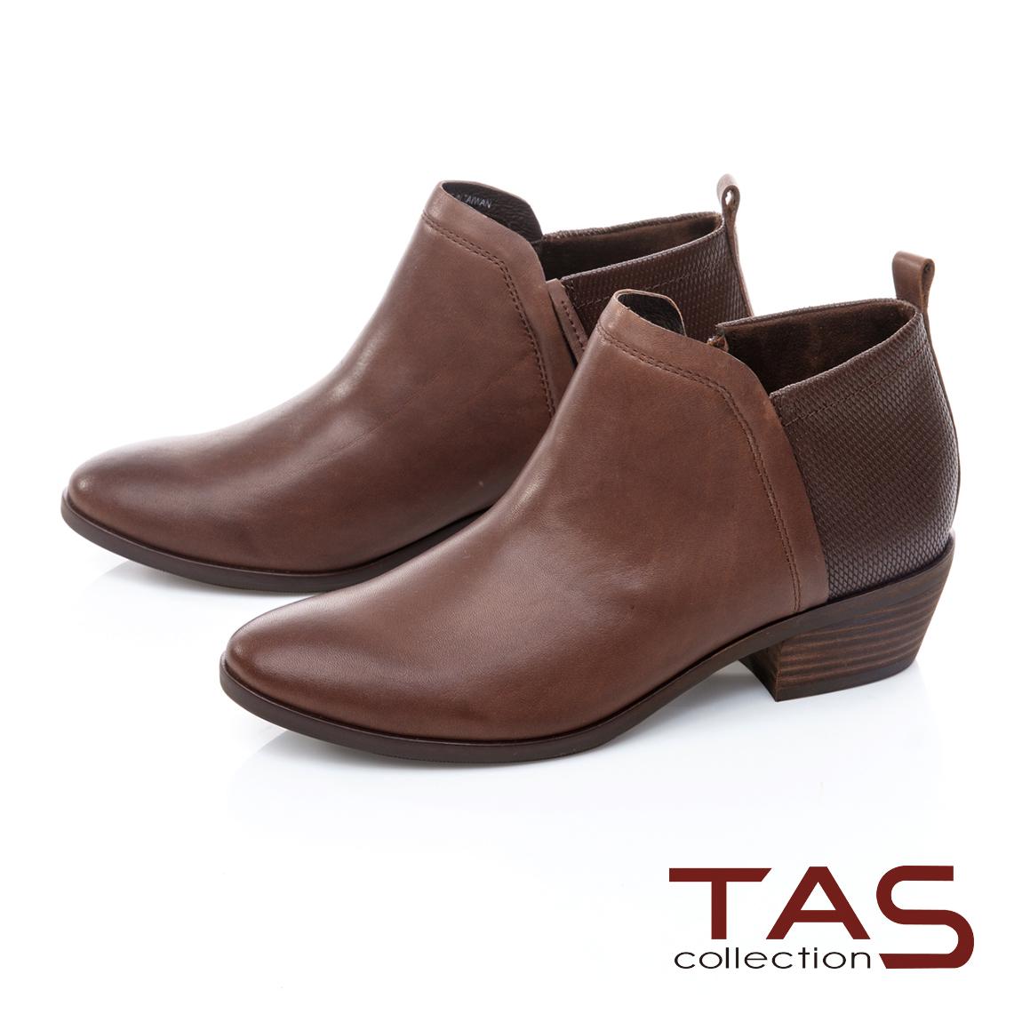 TAS素面牛皮粗跟短靴-焦糖咖