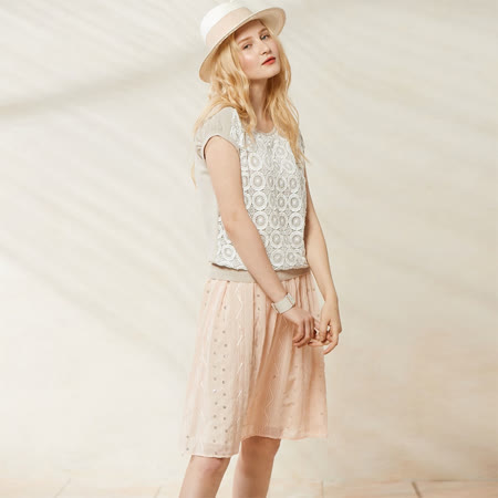 AZUR 氣質細紗小亮片中長裙-粉紅
