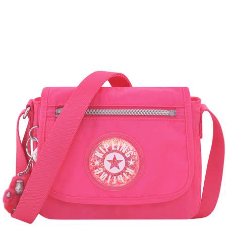 KIPLING 波紋星星飾牌小型斜背包-粉紅色