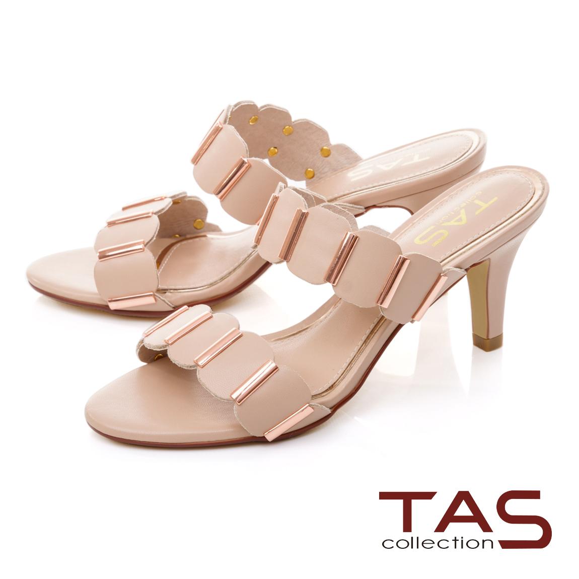 TAS 波浪一字帶涼拖鞋-浪漫粉