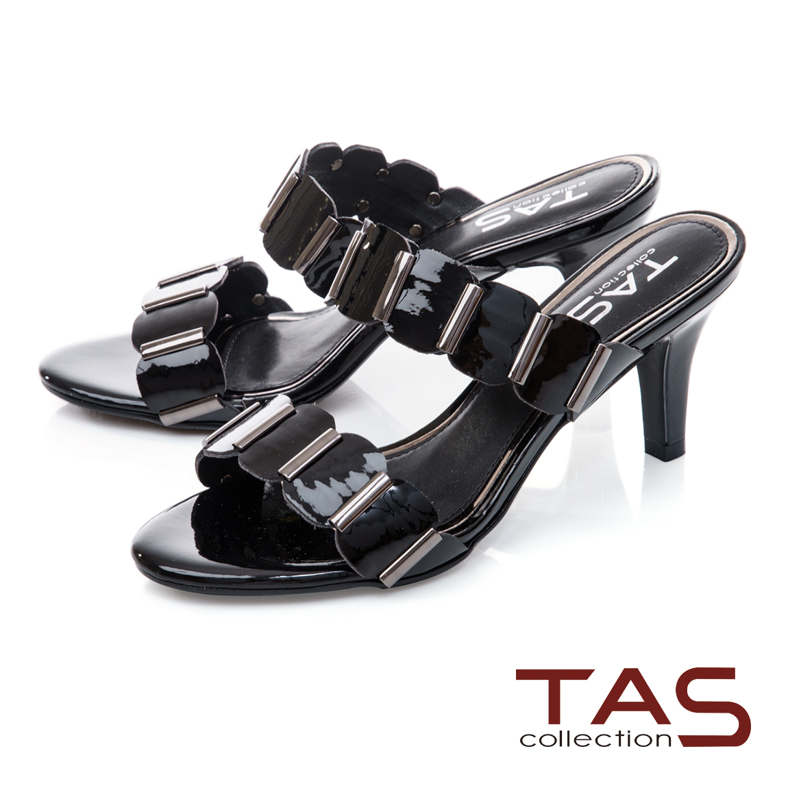 TAS 波浪一字帶涼拖鞋-百搭黑