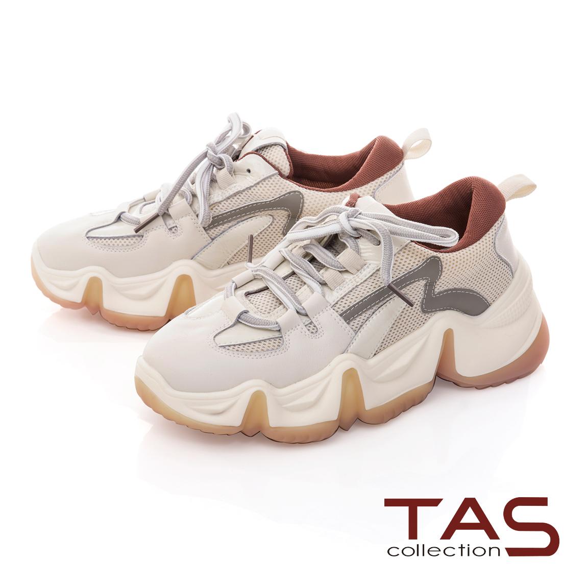 TAS流線造型牛皮綁帶老爹鞋-乾燥粉