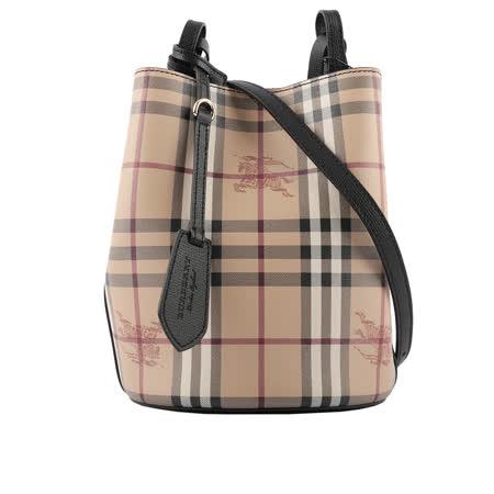 BURBERRY 格紋皮革斜背水桶包
